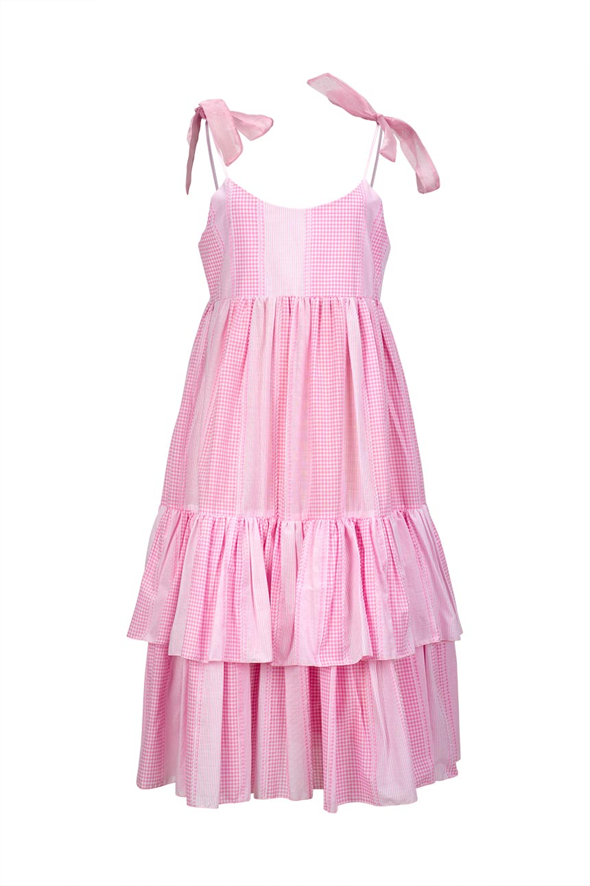 MISSES CALM DRESS IN PINK - MISSES WHITE