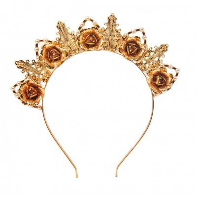 Gold Rose & Pearl Crown Headband - Johnny Loves Rosie
