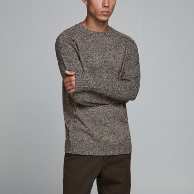 CREW NECK DUSTY OLIVE KNITTED PULLOVER
