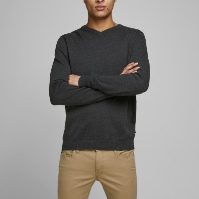 JJEBASIC KNIT V-NECK NOOS DARK GREY MELANGE