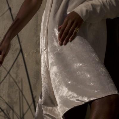MISSES VELVET DRESS - MISSES WHITE