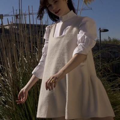 MISSES WHITE FUR DRESS - MISSES WHITE