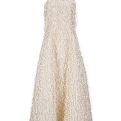 MISSES GOLD FUR DRESS - MISSES WHITE