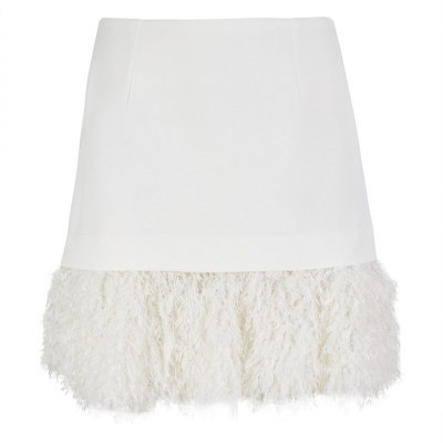 MW WHITE FUR MINI SKIRT - MISSES WHITE