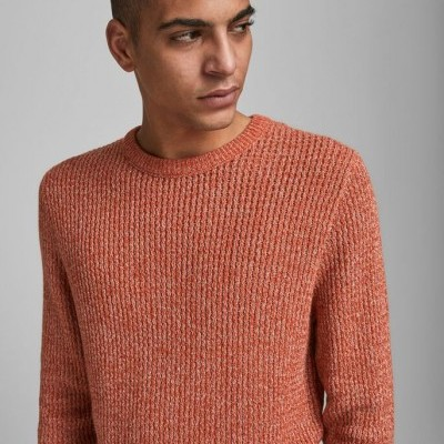 GROOVE CREW NECK RED / BURNT OCHRE KNITTED PULLOVER