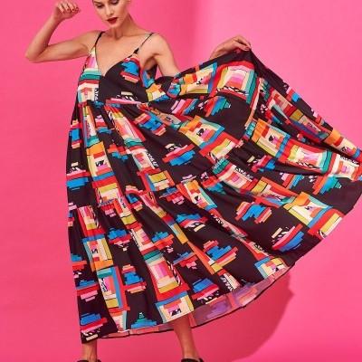 IDA DRESS (MOTIVO BLACK) - KARAVAN CLOTHING