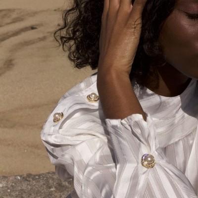 MISSES GOLD PEPLUM SHIRT - MISSES WHITE