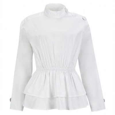 MISSES PEPLUM SHIRT - MISSES WHITE