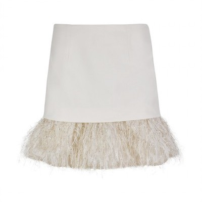 MW GOLD FUR MINI SKIRT - MISSES WHITE