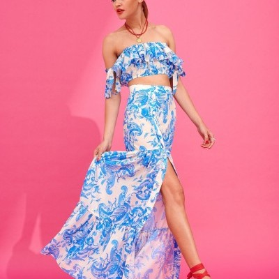 GERALDINE SKIRT (BLUE) - KARAVAN CLOTHING