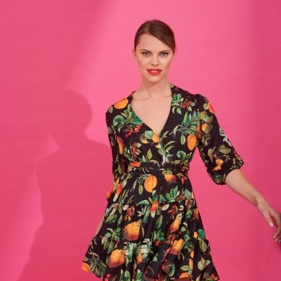 REBECCA DRESS (BLACK FRUIT) - KARAVAN CLOTHING