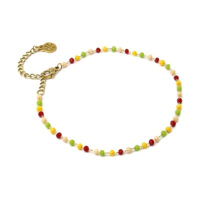 PULSEIRA MULTICHARM ANKLET (tornozelo) Beige-Red - ANARTXY