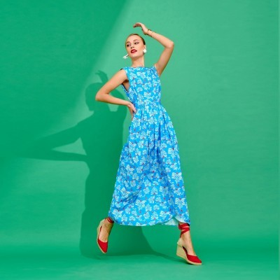 ANNINA DRESS (TURQUOISE) - KARAVAN CLOTHING