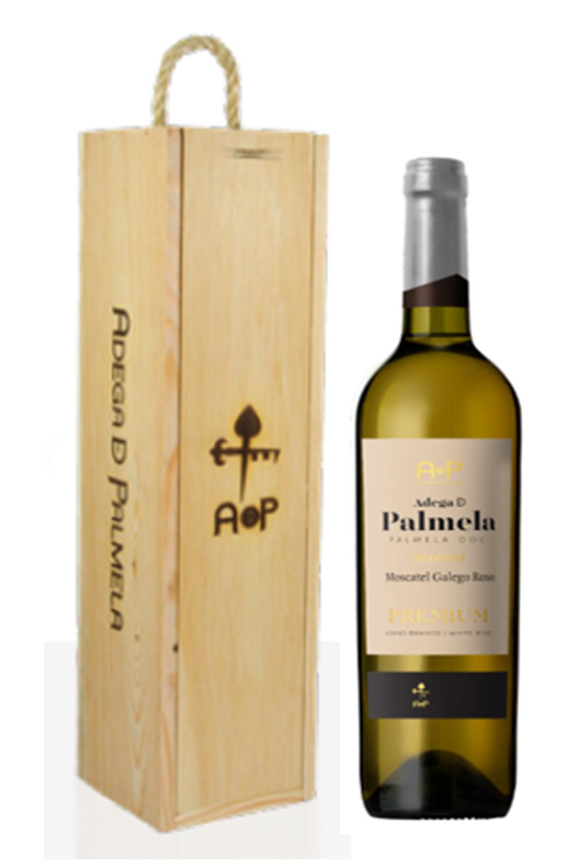 Caixa de 1 garrafa de vinho Adega de Palmela Premium Reserva branco Moscatel Roxo 75cl