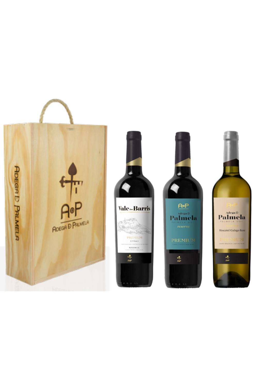 Caixa de 3 garrafas de vinho Adega de Palmela e Vale dos Barris Premium Reserva 75cl