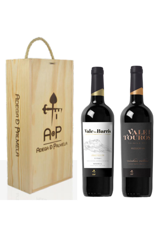 Caixa de 2 garrafas de vinho Vale dos Barris Premium Reserva e Vale de Touros Vinhas Velhas Reserva 75cl
