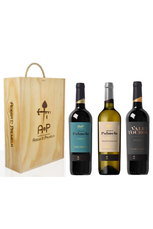 Caixa de 3 garrafas de vinho Vale de Touros e Adega de Palmela Premium Reserva 75cl