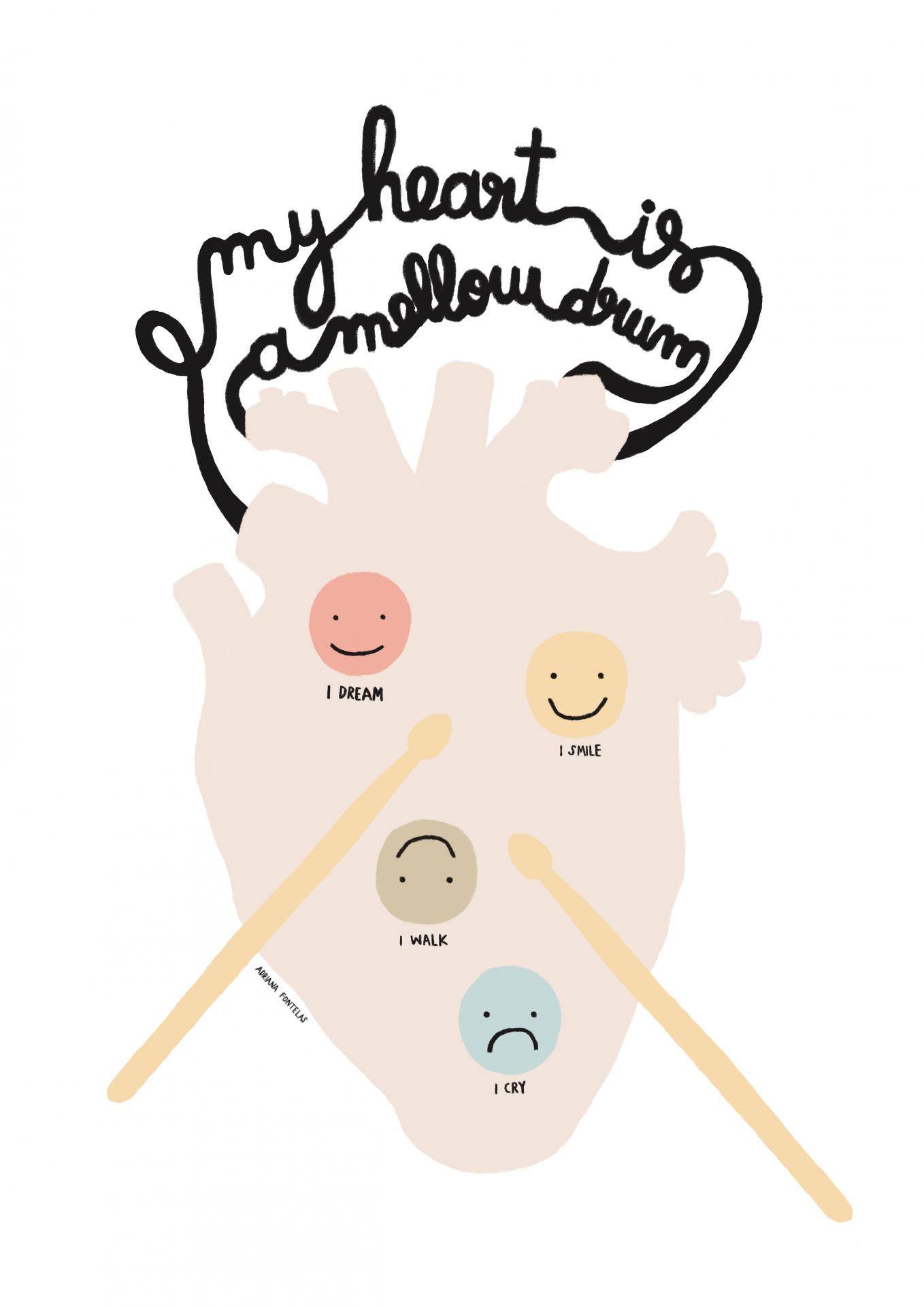 """Ilustração """"My heart is a mellow drum"""""""