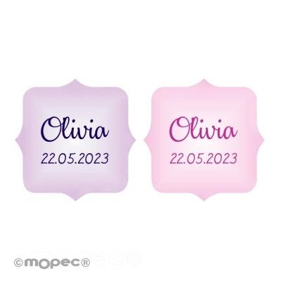270 Etiquetas em rosa ou lilás
