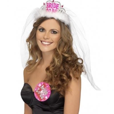 """Tiara Com Véu """"Bride to Be"""" Branca"""