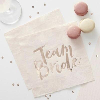 """20 Guardanapos """"Team Bride"""""""