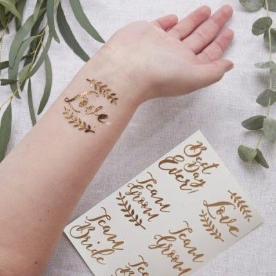 12 Tatuagens Temporárias Rose Gold