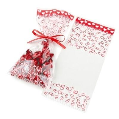 100 Sacos com corações vermelhos
