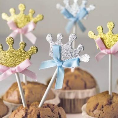 5 Coroas em rosa ou azul para Cupcakes