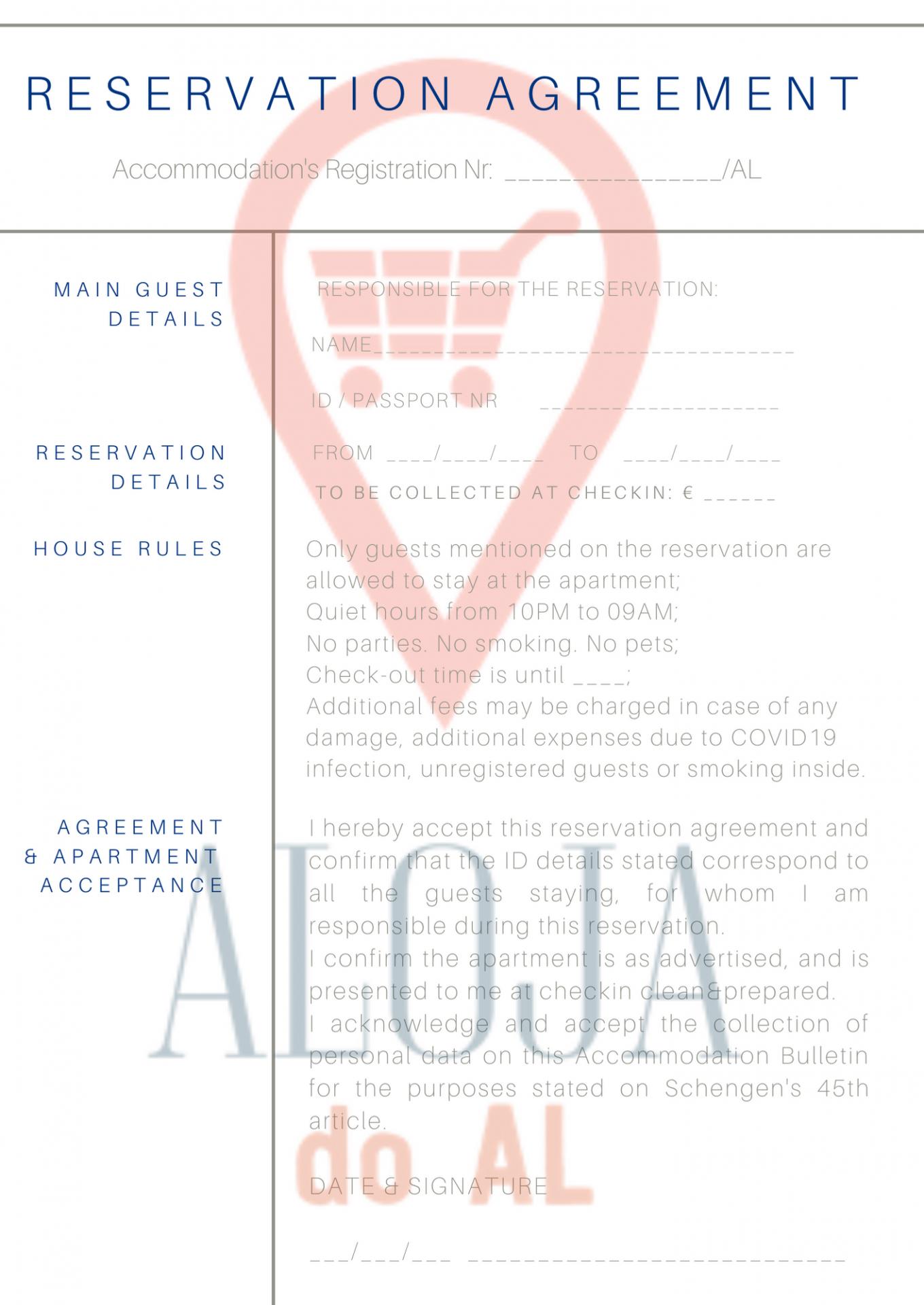 Reservation Agreement - Boletim de Alojamento (100 unidades)