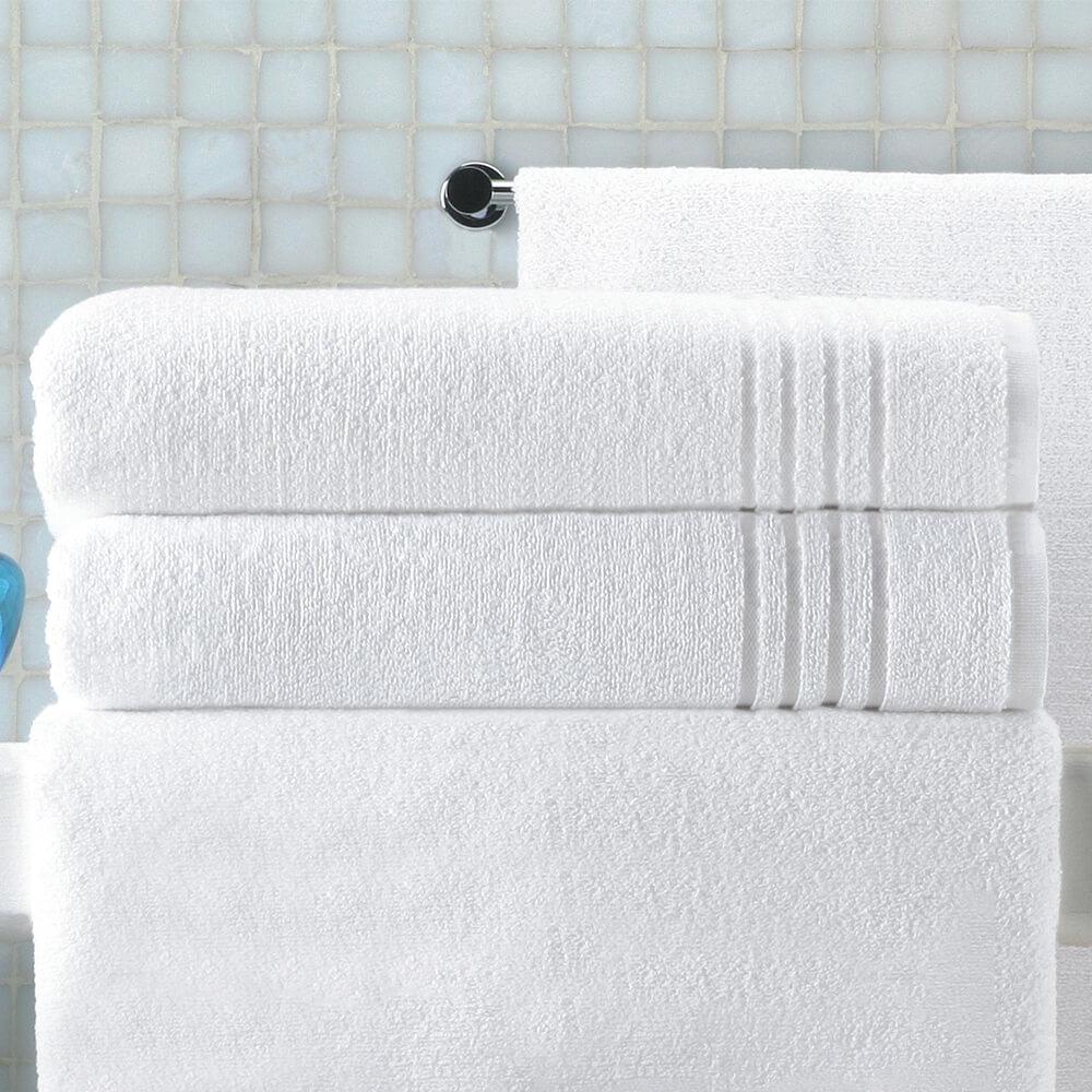 6 x Toalha de Rosto branca Felpo Grão 500g singelo 50x100cm (lote de 6 toalhas)