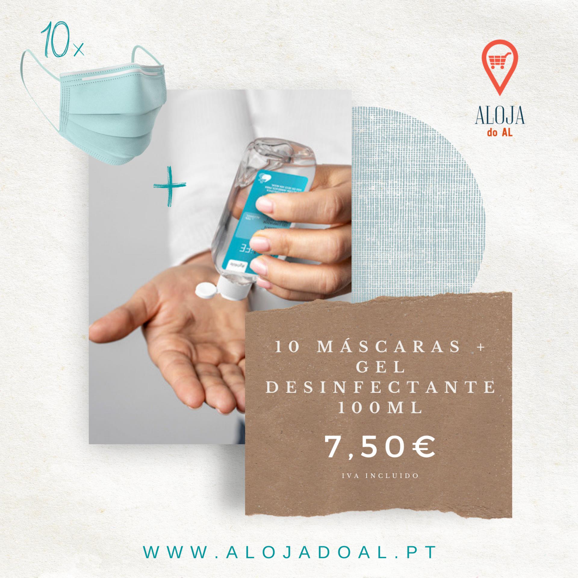 PACK 10 máscaras + Gel Desinfectante 100ml