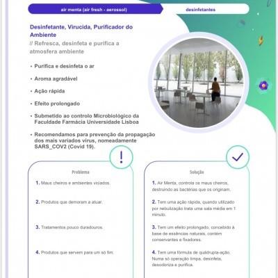 AIR FRESH / AIR MENTA Desinfectante Purificador do Ambiente 1L - para prevenção SARS_COV2 (Covid 19).