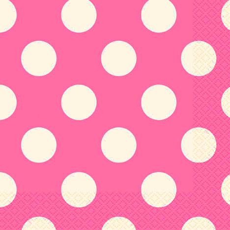 16 Guardanapos rosa fushia bolas