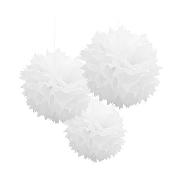 3 Pompons branco