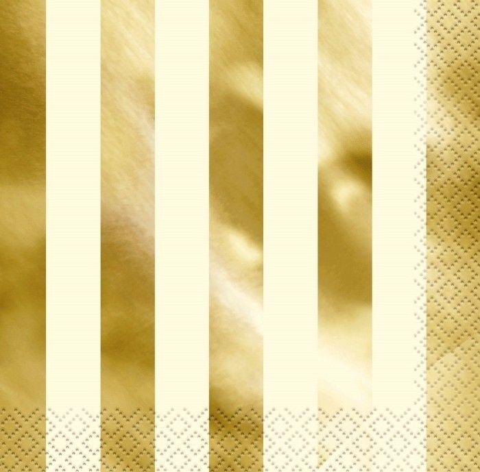 16 Guardanapos foil riscas ouro