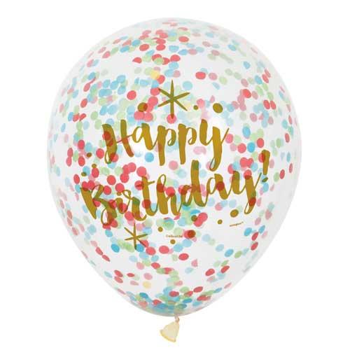 6 balões Happy birthday transparentes com confetti