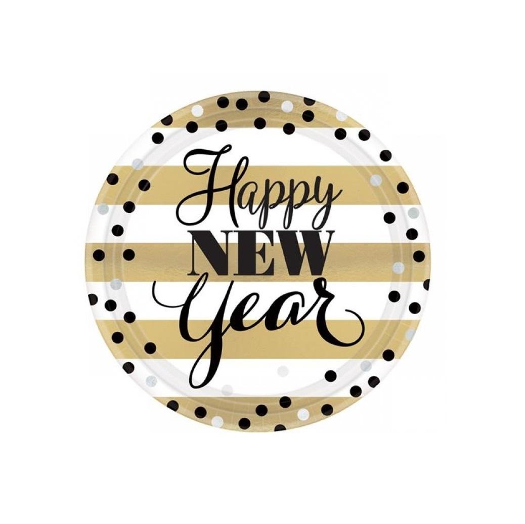 Pratos happy new year 18cm