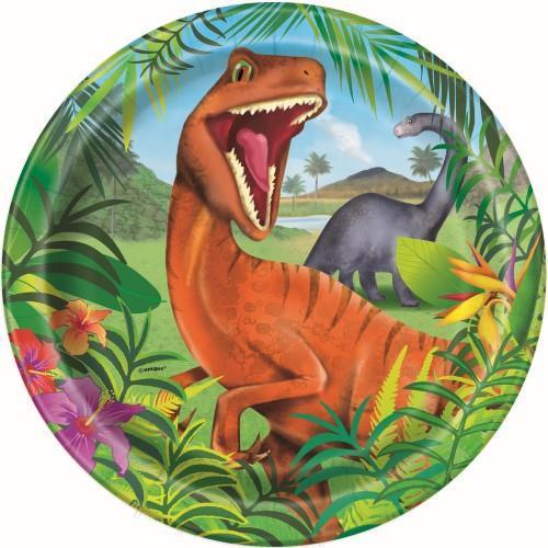 8 pratos dinossauro 23cm