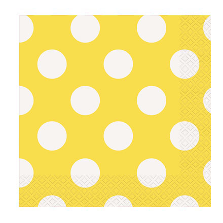 16 guardanapos amarelo bolas
