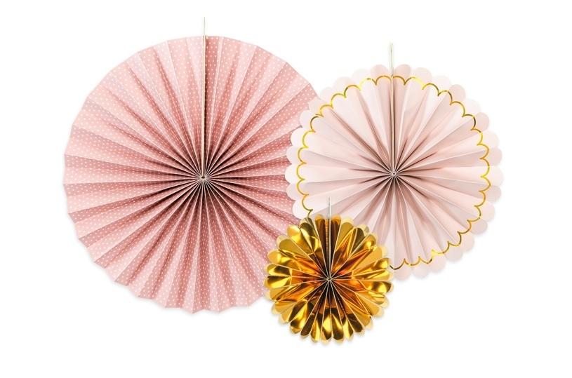 Rosetas mix rosa e dourado x3