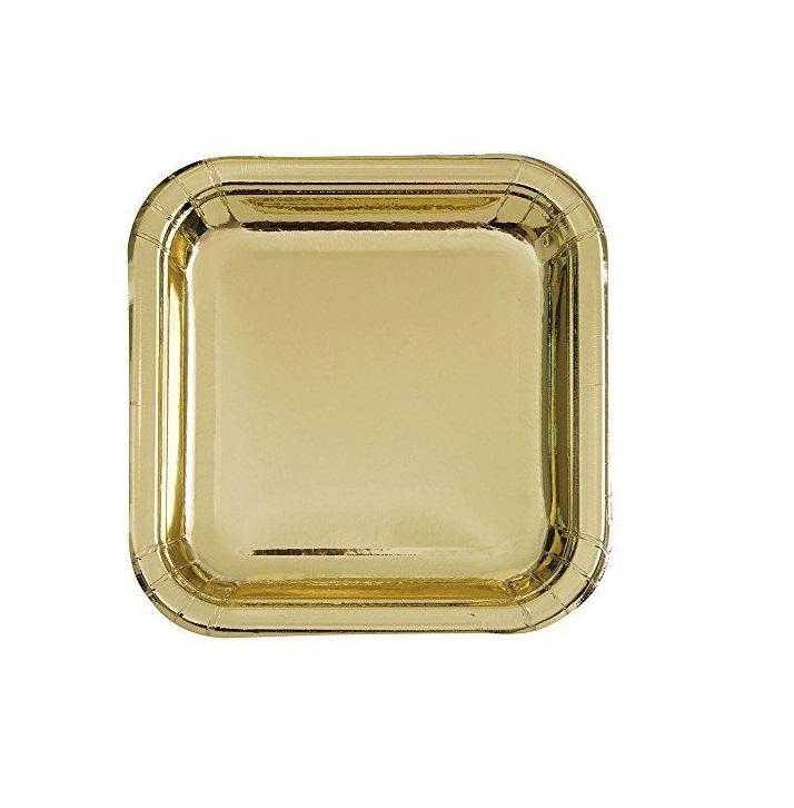 Pratos quadrado ouro foil 18cm