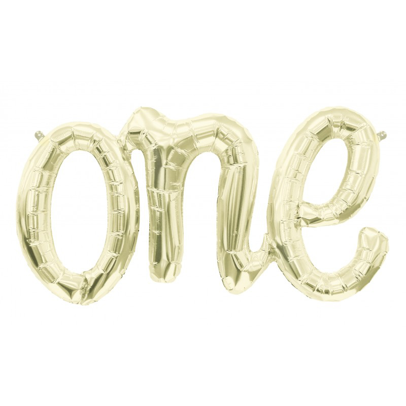 "Balão Foil 30"" One Script White Gold"