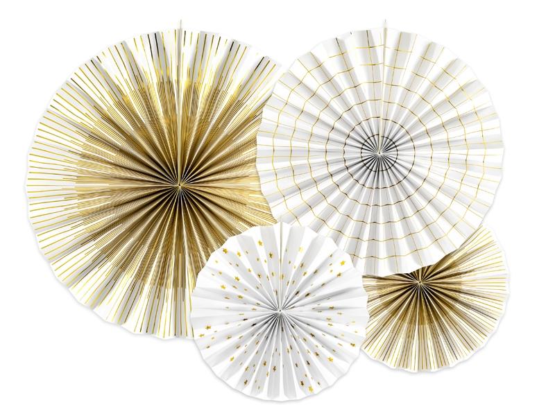 Rosetas mix branco e dourado x4