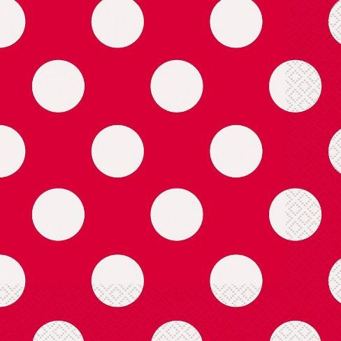 16 Guardanapos vermelho bolas