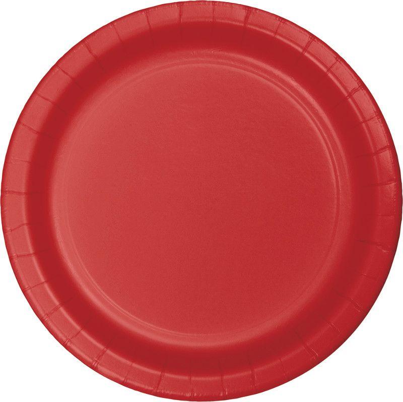 16 pratos Vermelho 23cm