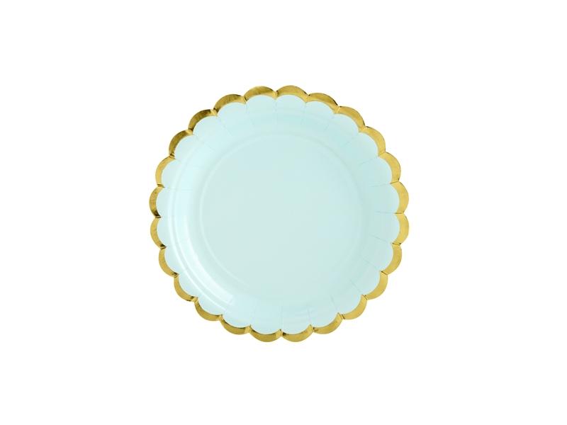 6 Pratos - menta e dourado 18cm