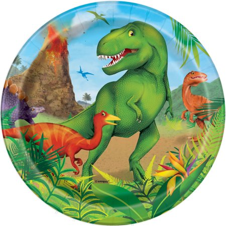8 pratos dinossauro 18cm