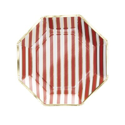 8 Pratos  Red&Gold foil