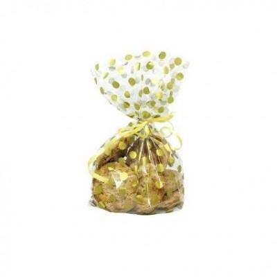 20 Sacos Oferta Transparente Bolas Ouro