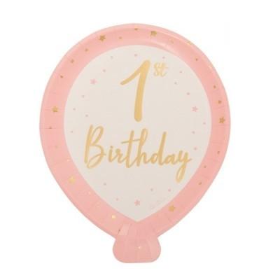 8 pratos balão 1ºaniversário rosa